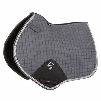 LEMIEUX PROSPORT SUEDE CLOSE CONTACT SQUARE WITH BINDING GREY/SILVER saddle pad