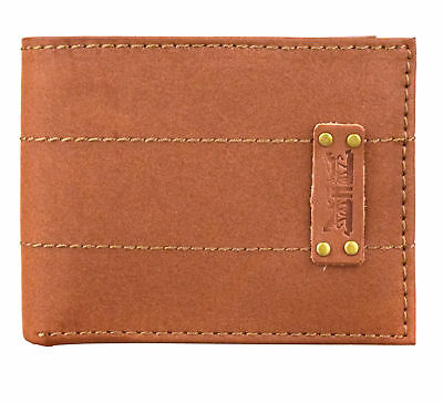 Levi's Genuine Leather Bifold Id Credit Card Wallet Pocketbook 31lv2216 Tan