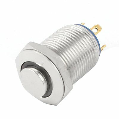 F1942 Green LED Lamp SPST 12mm Panel Mount Momentary Metal Pushbutton Switch