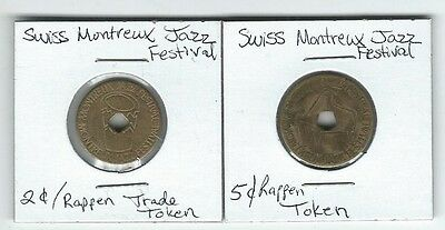 2 & 5 Franc Tokens from the Montreaux Jazz Festival Switzerland Rare 2 Coin XF