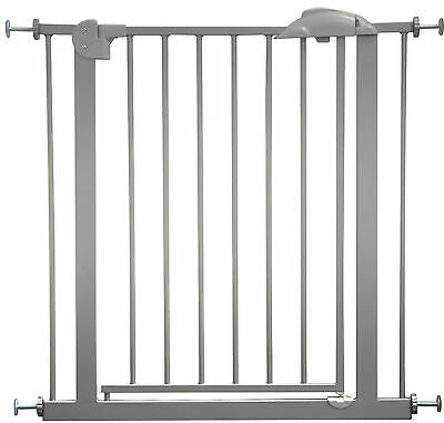 """Door- and Stair- Safetygate MIKA 29.5""""- 68.9"""" Metal Silver Barrier Kid Pet Child"""