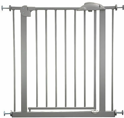 "Door- and Stair- Safetygate MIKA 29.5""- 68.9"" Metal Silver Barrier Kid Pet Child"