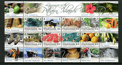 Pitcairn Islands 2016 MNH Languages 8v M/S Fruits Swimming Goats Stamps