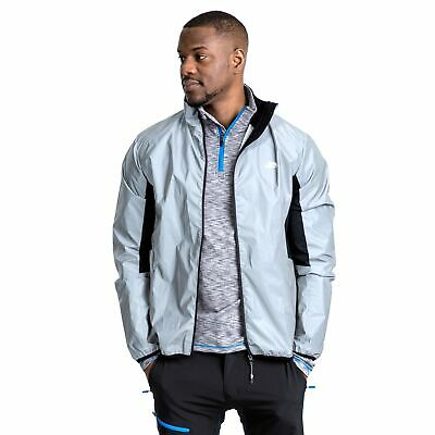 Trespass Zig Reflective Mens Cycling Jacket Grey High Visibility Water Resistant
