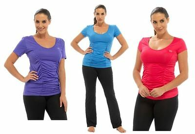 Ladies Womens Gym Top Crew T Shirt Tee Running Fitness Sports Training Exercise