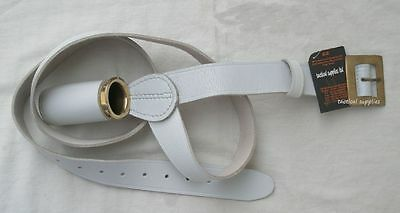 Flag Pole  Belt Holder, Carrier White Leather  With Brass Insert