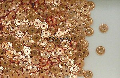 Solid Copper 4.3mm  Round Flat Ridge Disc Spacer Beads, Choice of Lot Size