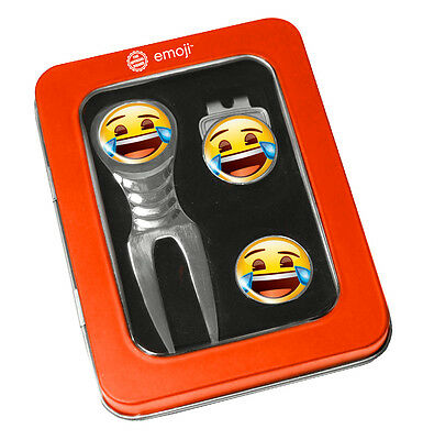 Emoji Golf Divot Tool Set - Novelty Ball Marker & Hat Clip  Crying With Laughter