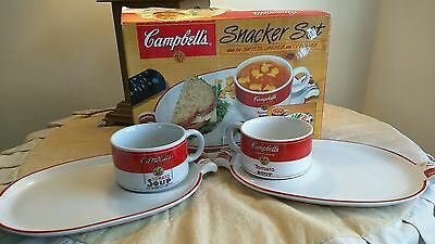 Lot of 2 WESTWOOD Campbells Soup 2 Piece Snack Sets Tray and Mug Original w/ box
