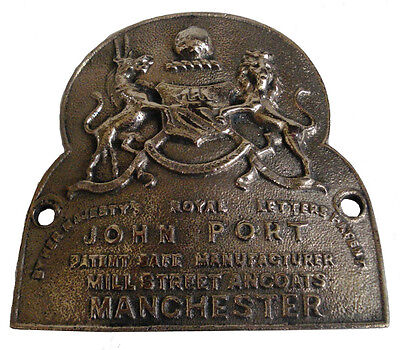 Very Rare Antique Cast Brass John Port Manchester Safe Plate