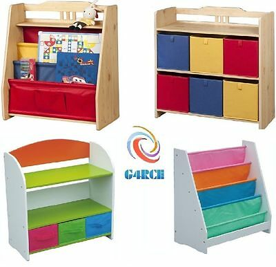 Childrens Kids Bedroom Book Storage Shelf Rack Unit & Boxes Tubs Bins Toys