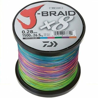 Daiwa J - Braid X8 fach geflochten Schnur Multi Color 0,35mm 36,0kg (0,09€/m)