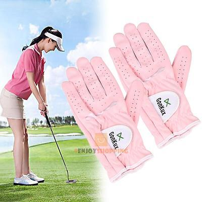 1 Pair Women Lady Breathable Left & Right Hand Golf Gloves Super Fine Cloth Soft