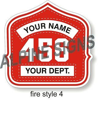 "Fire Helmet Shield sticker - Style 4 - Custom just for You! 4.2""x4"""