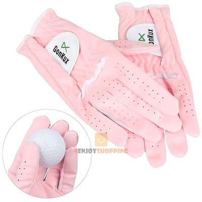 1 Pair Women Breathable Left and Right Hand Golf Gloves Super Fine Cloth Soft