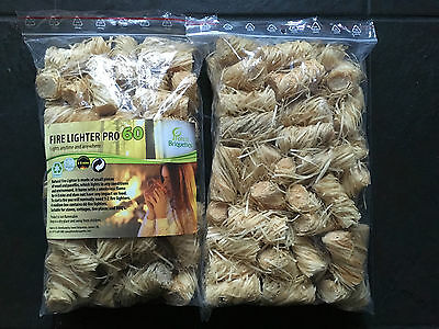 No1 Natural Firelighters, 2xBAGS=120pieces, For Stoves, Fireplaces, BBQ