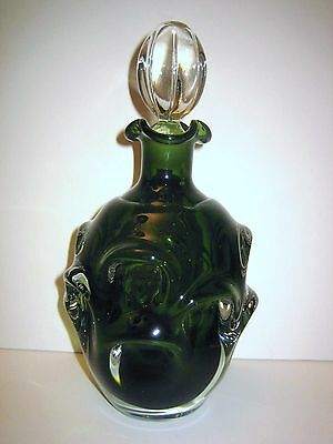 Beautiful Green & Clear Art Glass Decanter  Stopper Ground To Fit