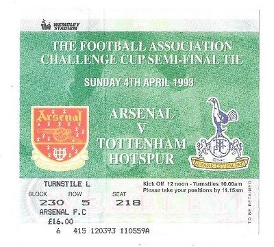 Arsenal v Tottenham Hotspur, 1992/93 - FA Cup Semi-Final Match Ticket.