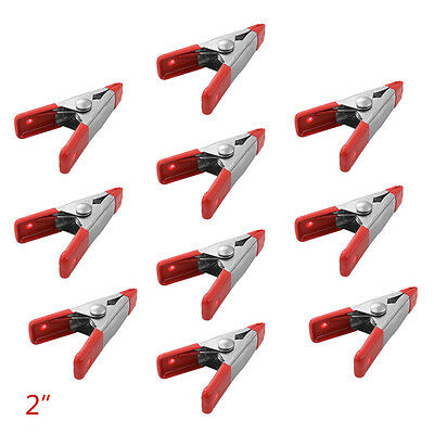 """CHIC 10pcs Market Stall 2"""" Steel Spring Clamps Red Plastic Tips Mini Clips BI404"""
