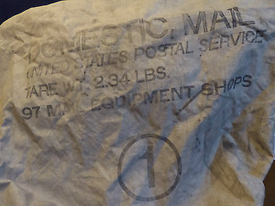 Vintage US Postal Service Domestic Mail Canvas Drawstring Bag #1 With Clasp