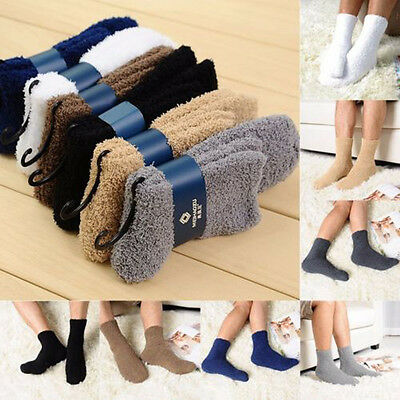 Women Men Soft Bed Socks Pure Color Fluffy Warm Winter Gift Home Floor Socks UK