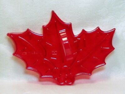 HRM Vintage Design Red Plastic Cookie Cutter - Christmas Holly Berries & Leaves