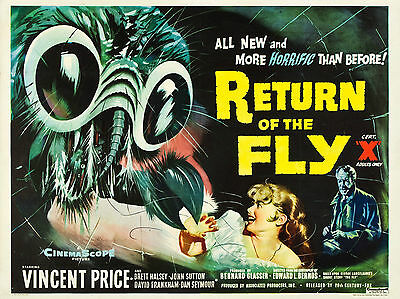 """Return of the Fly 1959 16"""" x 12"""" Reproduction Movie Poster Photograph"""