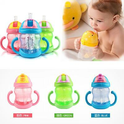 Portable Infant Training Straw Sippy Cup Bottle Learn Drinking