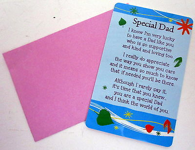"Heartwarmer Keepsake Message Card ""special Dad"" With Inspirational Verse"