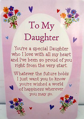 "Heartwarmer Keepsake Message Card ""to My Daughter"" With Inspirational Verse"