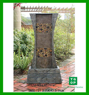 Lx62972 Flat Pebble Panel Indoor Outdoor Polyresin Water Fountain Feature