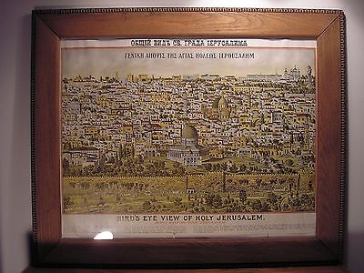 Antique Birds Eye View of Holy Jerusalem Rand McNally Souvenir Tourist Map