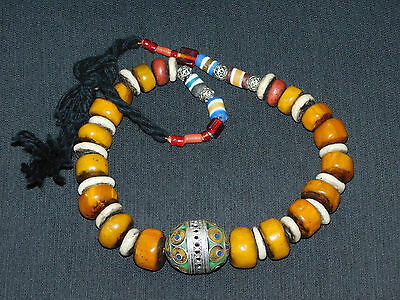 Moroccan tribal jewelry Berber resin beads w/ Tagmoute enameled Egg Necklace