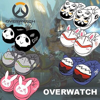 Cute Game Overwatch Plush Shoes Winter Warm Indoor Slippers Sandal Anti-slip