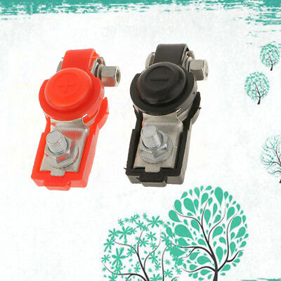 2pcs Red & Black Car Battery Terminal Clamp Clips (+)&(-) Protector Adjustable