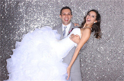 """36""""*84"""" Sparkly Silver Sequin Curtain Photograph Backdrop for Wedding Decoration"""
