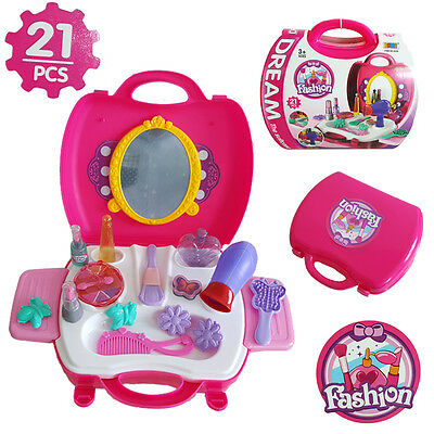 21Pcs Beauty Make Up Dress-Up Cosmetic Dressing Set Kids Girl Pretend Play Toy