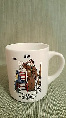 "VTG 1988 Norman Rockwell coffee mug ""Can't Wait"" boyscout leader"