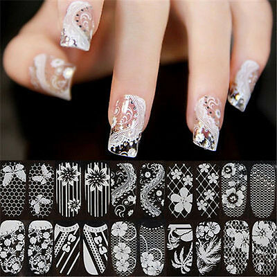3D Lace Crystal Nail Art Tips Stickers Wraps Decal Manicure Decoration DIY