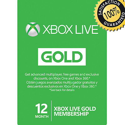 12 Month XBOX LIVE GOLD SUBSCRIPTION MEMBERSHIP MICROSOFT XBOX ONE XBOX 360 UK