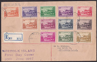 1947 - Norfolk Island FDC - Issued 10th JUN - Definitives set of 12