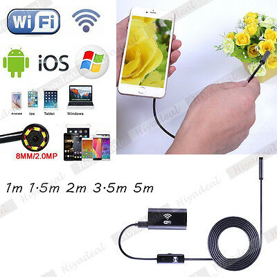 Wireless WiFi Endoscope Inspection Borescope Camera 6 LED For Android iPhone 6