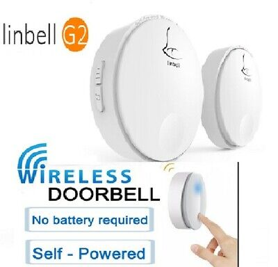 Linbell Wireless Doorbell Waterproof IPX7 Self-powered No Battery Door Bell G2