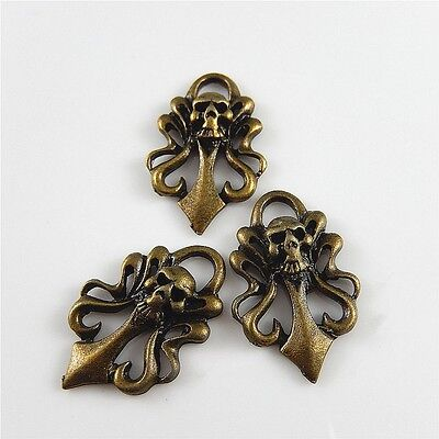 25pcs Antique Bronze Alloy Skull Sign Shaped Pendants Charms Jewelry Making
