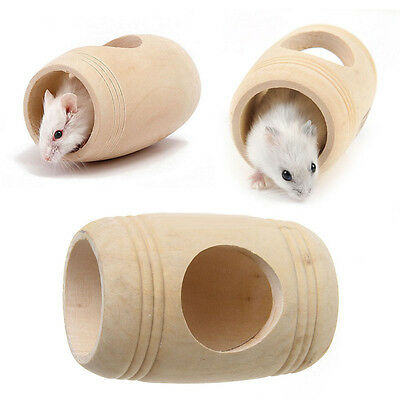Wine Cask Design Wooden Bed House Cage Molar Toy for Pet Rat Hamster Mouse