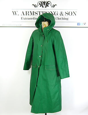 Women's Vintage Green RUKKA RAINCOAT 70's PVC Cotton HOODED Mac Trench Coat 38