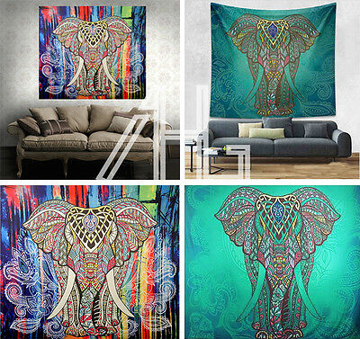 Indian Elephant Psychedelic Tapestry Wall Hanging Mandala Hippie Throw Bedspread