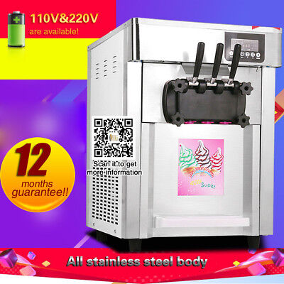 Commercial Soft Ice cream machine 18L/H Yogurt Ice cream maker machine,3 flavors