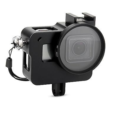 Aluminium Alloy Frame Thick Solid Protective Case B + UV Filter for Gopro Hero 5