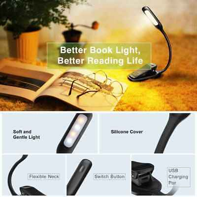Dual-head Clip-on Rechargeable Book Light LED Lamp USB 5 Brightness Settings